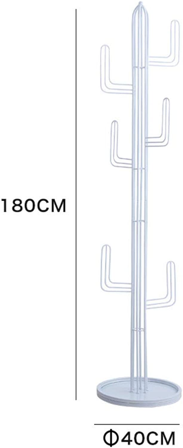 Heavy Duty Cactus Coat Rack, Rustproof Metal Coat Hanger Stand, Free Standing Round Base Moisture Proof Creative, Easy Assembly-White 180x40cm(71x16inch)