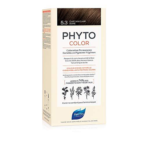 PHYTO PHYTOCOLOR 5.3 Châtain clair doré - Coloration permanente à base de pigments végétaux - Sans ammoniaque - Couverture intégrale des cheveux blancs
