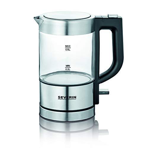 SEVERIN WK 3472 Mini Glas-Wasserkocher, hochwertig und komfortabel, 0,5 Liter, 1.100 Watt, 100% BPA-frei