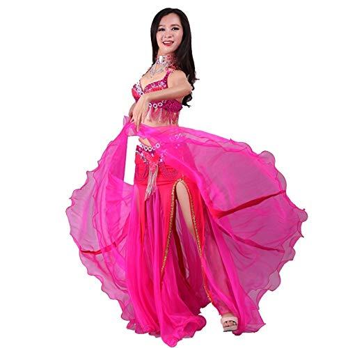 Falda de baile del vientre ATS Falda de baile tribal Falda flamenca Faldas grandes Swing Festival de Halloween Danza del vientre Disfraz para mujer (Color: rojo rosa, talla L: L)