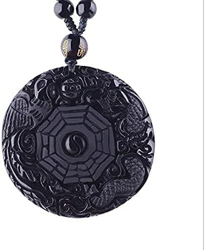 AMOZ Fashionamulets And Talismans Collares Y Amperios de Obsidiana Negra Natural; Colgantes Tallados Chino Yin Yang Bagua Zhen Dragón Fénix,Color Oro Amarillo Claro