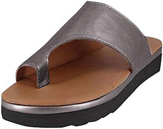 Sandals for Womens,Sunyastor Summer Casual Strap Roman Flat Clip Toe Shoes Slipper Beach Shoes Roman Slippers Sandals