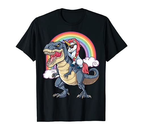 Einhorn reiten Dinosaurier T Rex T Shirt Einhörner Rainbow Geschenke