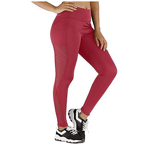 A-HXTM Leggings Sin Costuras De Cintura Alta para Mujer Pantalones Deportivos Fitness Running Yoga Energy-Wine_L_États-UNIS