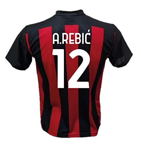 DND Di D'Andolfo Ciro Fußballtrikot Tore A. Rebic 12 Milan Replik 2020-2021 Größen für Kinder und Erwachsene, Rossonero, 10 Jahre