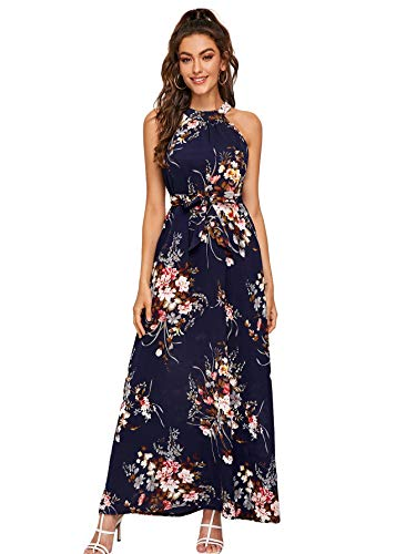 Floerns Women's Sleeveless Halter Neck Vintage Floral Print Maxi Dress Navy Flower M