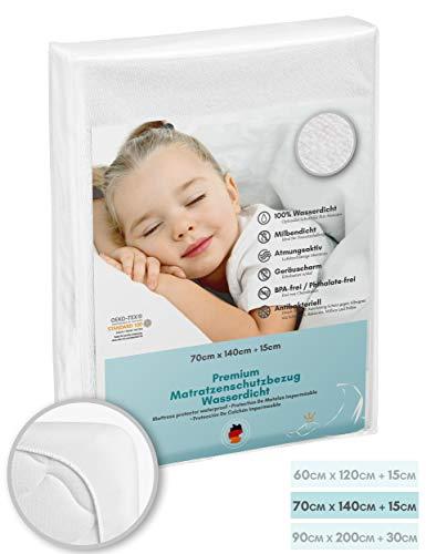Luxusfeder - Matratzenschutz wasserdicht 70x140 cm - Matratzenschoner Öko-Tex - Bester Nässeschutz - SiShield® Hygieneschutz - optimal für Allergiker - atmungsaktiv