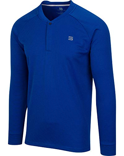 Dry Fit Long Sleeve Collarless Golf Shirts for Men - 4 Way Stretch and Moisture Wicking Golf Polo Royal Blue