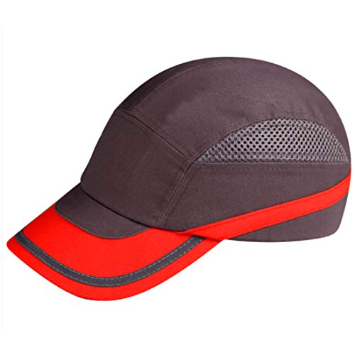 Profi Anstoßkappe Schutzkappe Hardcap Schutzhelm Kopfschutz Sicherheitskappe Sicherheits-Cap grau/rot