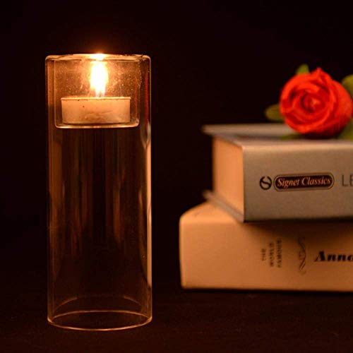 MZXUN 3 unids cálido Cena romántica Cena hogar Transparente Vidrio candelabros Accesorios linternas con Velas de Cristal candelero