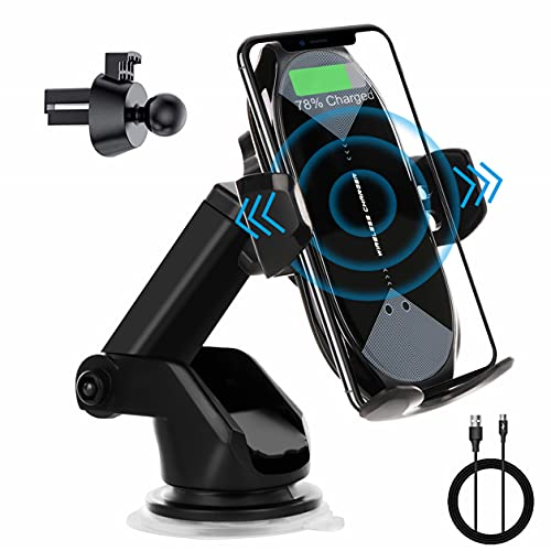 Wireless Car Charger Mount, Car Phone Holder Auto-Clamping Qi 10W/7.5W Fast Charging Car Phone Mount Dash Air Vent Compatible with iPhone Series 12/11/Pro/Max/X/8, Samsung S10/S10+/S9/S9+/Note