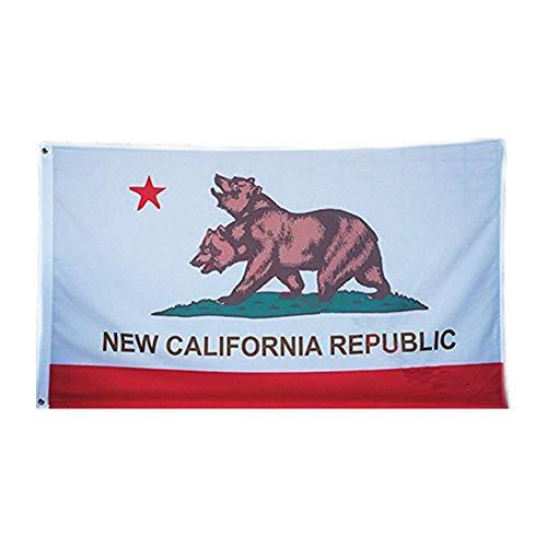 CDKJ Bandera de la República de Nueva California 3X5Ft Banner para Office la Barra del Partido de la decoración de poliéster Cabeza de Metal de Lona Ojal de Dos cabezas-1Pc Bandera del Oso