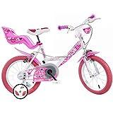 Bici Dino 16' Bimba per Bambina 6-8 Anni con Rotelline