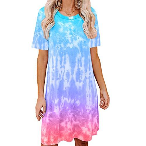 Toamen T Shirt Dress Women's O Neck Tie-dye Print Short/Long Sleeve Casual Loose Beach Party Swing A-line Mini Dress(Sky Blue,14)