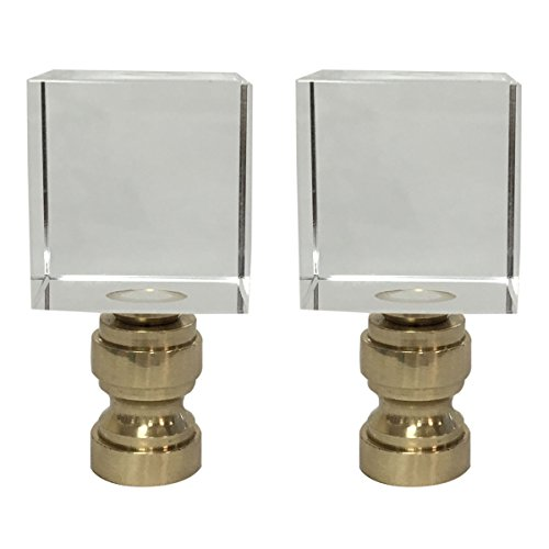 Royal Designs Clear Cube K9 Crystal Lamp Finial with Polished Brass Base - Set of 2