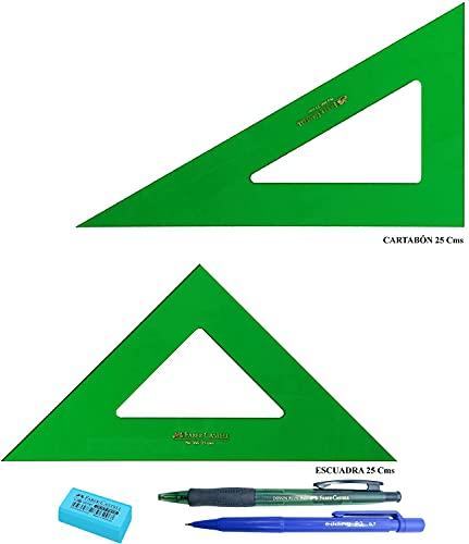 PACK LOTE Faber Castell Técnico - Escuadra 566-25 Cms + Cartabón 666-25 Cms + REGALO
