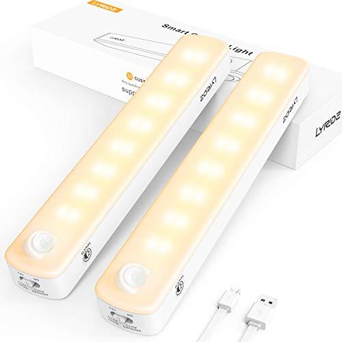 LYRIDZ Schranklicht, 2500 mAh, wiederaufladbarer Bewegungsmelder, 2–260 lm, LED, warmweiß, dimmbar, 3 Modi, Magnetstreifen zum Aufkleben, für Küche, Kleiderschrank, Flur, Garage, 2er-Pack