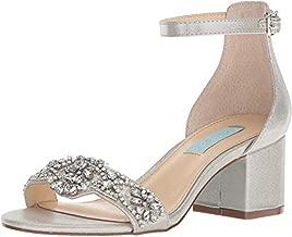 Blue by Betsey Johnson Women's SB-Mel Heeled Sandal, Silver, 8 M US
