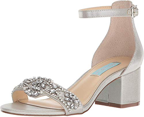 Betsey Johnson Blue Women's SB-Mel Heeled Sandal, Silver, 9 M US