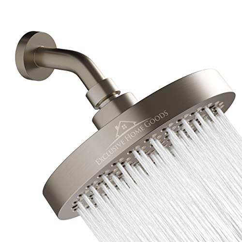 Luxury Rainfall Shower Head - High-Pressure showerhead Jets, rain shower head Ant-Clog Silicone Nozzles (1.8 GPM, Brushed Nickel)
