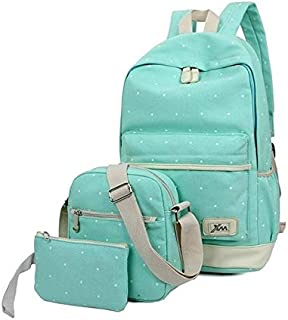 Women 3pc Canvas Fashion Outdoor Travel Backpack Bag Teal