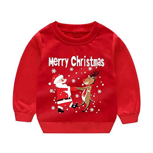 DDPD Decoraciones de Navidad vestido de los ninos ropa de regalo Feliz Navidad Ropa de los Ninos Sudadera Bebe Nino Ropa de las Ninas Sueter de Santa Disfraces de los Ninos Jersey Traje Tops 1-5Y