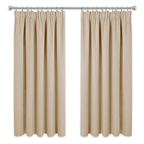 PONY DANCE Beige Curtain for Bedroom - Thermal Insulated Tape Top Curtain Panels for Room Darkening Solid Noise Reducing Drapes for Nursery, 2 Pieces, 46 inch Wide by 72 inch Drop, Biscotti Beige