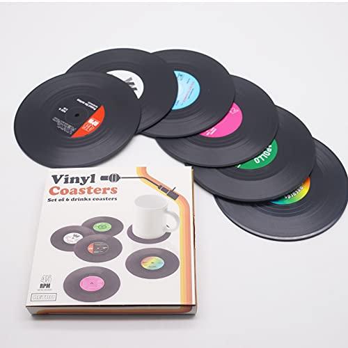 Untersetzer 6er Set, Retro-Stil Untersetzer,Vinyl-Schallplatten-Untersetzer (6 Stück)