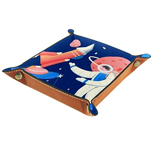 AISSO Astronaut Landing on The Moon Leather Valet Tray Organizer for Wallets Watches Keys Coins Cell Phones and Office Equipment