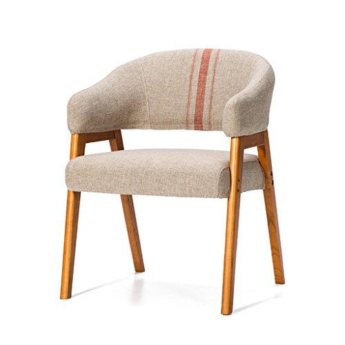 BOBE SHOP Nordic Orange Lines Simple en bois massif avec accoudoirs chaise tissu à manger chaise étude chaise Lounge chaise de bureau chaise minimaliste moderne (Couleur : B)