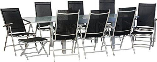 IB®-Style Star-XXL Gartengarnitur Gartenmöbel Sitzgruppe Garten | Ausziehtisch mit Sicherheitsglas 135-270 cm | Hochlehner mit Nackenkissen | 4 Kombinationen | 23-Teiliges Set
