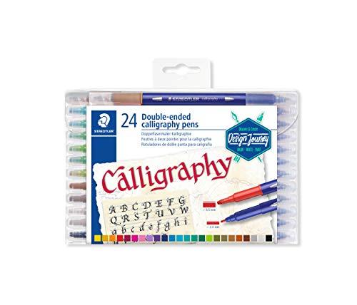 STAEDTLER 3005 TB24 Doppelfasermaler Kalligraphie (zwei Spitzen für schmale und breite Linien) Klarfaltetui mit 24 leuchtenden Farben