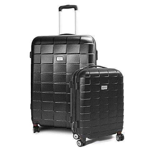BERWIN Kofferset M + XL 2-teilig Reisekoffer Trolley Hartschalenkoffer ABS Teleskopgriff Modell Squares (Schwarz)