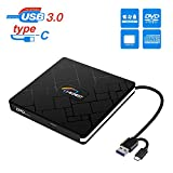 External CD DVD Drive, Portable USB 3.0 and Type C CD-RW/DVD-RW Reader Player