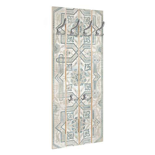 Bilderwelten Perchero de Madera Wood Panel Persian Vintage III   Ganchos cromados 100x40 cm