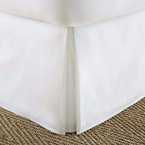 BeddingBasics Falda de cama de algodón egipcio de 650 hilos, estilo clásico plisado, con volantes, cobertura de tres lados, color blanco (99 x 190 cm + 50 cm de caída)