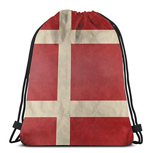 OPLKJ Bolsas con cordón unisex, Mochila plegable con bandera danesa Bolsa de gimnasio Bolsa de cincho Bages de almacenamiento para hombres Saco de gimnasio deportivo Bolsa de mochila con cordón multi