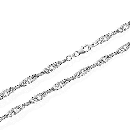 NKlaus echte 925er Sterlingsilber Silber Singapur Kette gedreht 42cm 3,70mm 7,2gr 5923