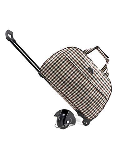 BEZLIT Koffer Reise Trolley Bag Sport Tasche Henkel Tasche Koffer 38L 55L 30241 Schwarz-Weiß-Braun Kariert M