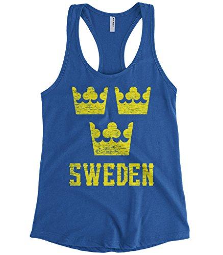 Cybertela Women's Sweden Three Crown National Emblem Racerback Tank Top (Royal Blue, Medium)