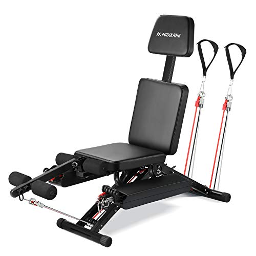 MaxKare Weight Bench Adjustable Workout Bench for Home 2020 New Model with Elastic Rope System for Arm Leg Extension Curl Incline/Decline Foldable Bench/Rope Intensity Can Replace Dumnbells 8-40lbs