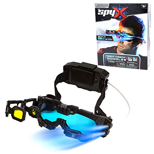 SpyX / Night Mission Goggles - Twin LED Light Beams + Flip Out Scope + Adjustable & Comfortable Head Strap For Spy Agent Kids Role Play. Essential Spy Gadget For Secret Mission In The Dark. Top Fun Award Winner