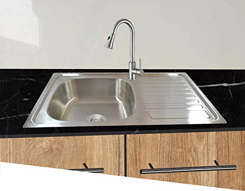 Spülbecken Edelstahl 304 eckig Küchenspüle Einbaubecken mit Ablage und Ablaufgarnitur 80cmL 50cmB