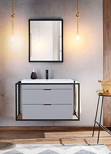 Jadella badmeubelset 'Boston' 3-delig badkamerset wastafel 100 cm decor zwart industrieel metaal