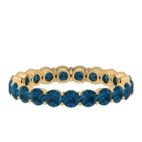 Anillo de eternidad de boda, anillo de novia apilable, anillo de topacio azul de 2,5 quilates, anillo de piedra natal de diciembre, anillo de aniversario delicado, 14K Oro amarillo, Size:EU 69