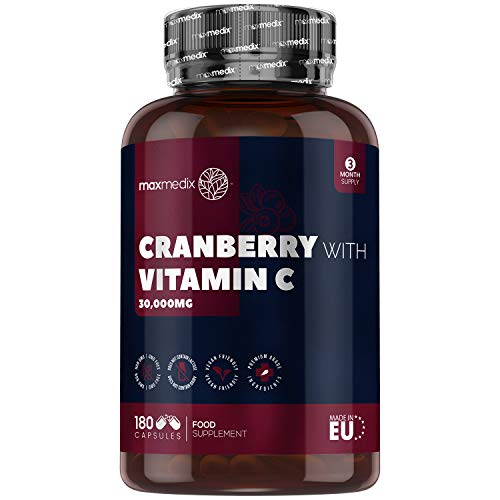 Cranberry Capsules & Vitamin C - 30,000mg - 180 Vegan Capsules (3 Month Supply) High Strength Cranberry Extract Powder Supplement, Intimate Care for Women, Pure VIT C for Immune System