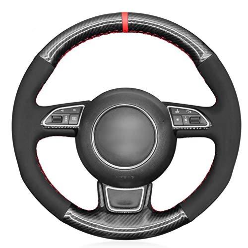 YHDNCG Handgenähtes schwarzes Leder-Auto-Lenkrad-Abdeckung, für Audi A5 2013-2017 A6 S6 2012-2018 Allroad 2013-2018 S8 2013-2018