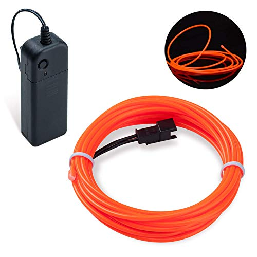 Lysignal 16ft Neon Glowing Strobing Electroluminescent Light Super Bright Battery Operated EL Wire Cable for Cosplay Dress Festival Halloween Christmas Party Carnival Decoration (Orange)