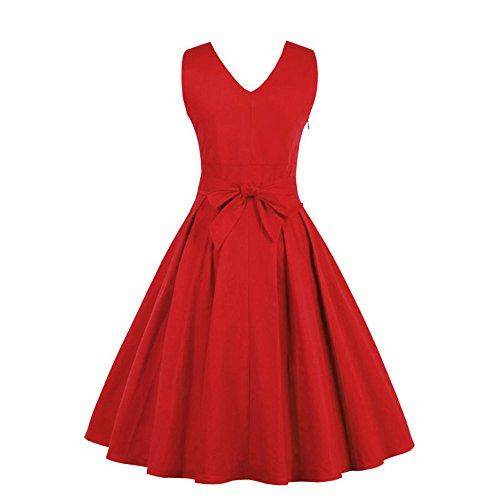 COZOCO Vestido Retro Verano Fiesta Color Simple Country Rocker Mujer(Rojo,XL