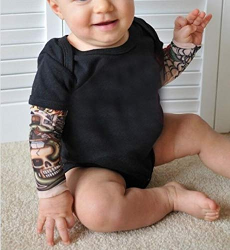 Amberetech Infant Baby Boys Fake Tattoo Printed Long Sleeve Romper Bodysuit Cool one-Piece Biker Costume